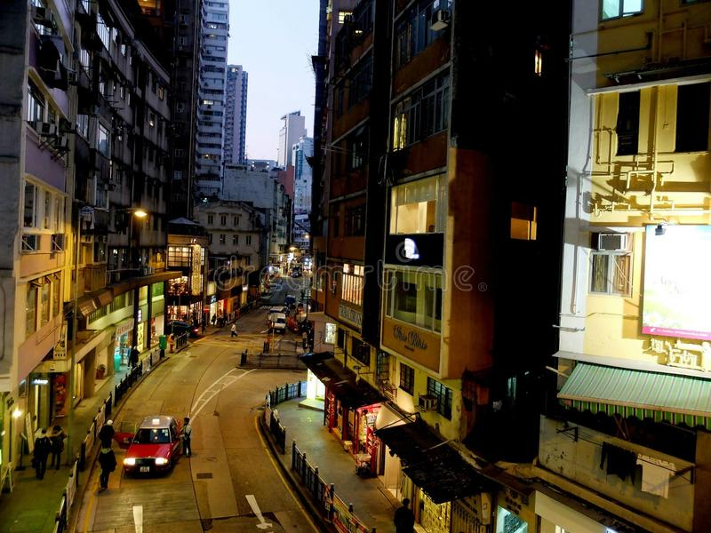 Soho Hong Kong visto de las mediados de escaleras móviles llanas imagen de archivo