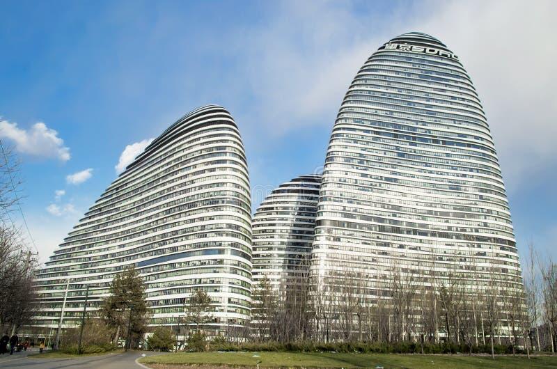 SOHO moderno de Wangjing de la arquitectura de la señal en Pekín imagen de archivo