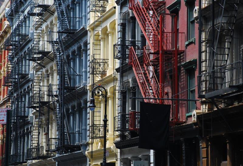 Soho, New York. Gietijzerarchitectuur stock foto's