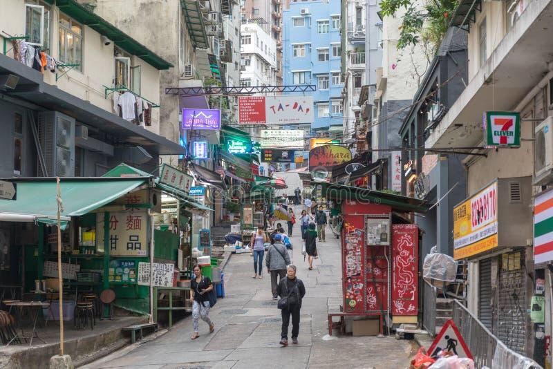 SoHo Street. Hong Kong - April 22, 2017: Up Hill Pedestrian Street at SoHo in Central, Hong Kong, China royalty free stock image