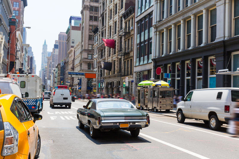 Soho street traffic in Manhattan New York City US royalty free stock image