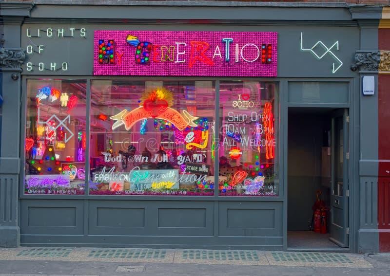 Soholichten, Kleinhandelswinkel, Soho, Londen, het UK royalty-vrije stock foto