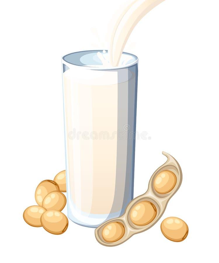 Soi mleka dolewanie w pi? szk?o soja P?aska ilustracja odizolowywaj?ca na bia?ym tle Jarski nap?j, jedzenie ilustracja wektor