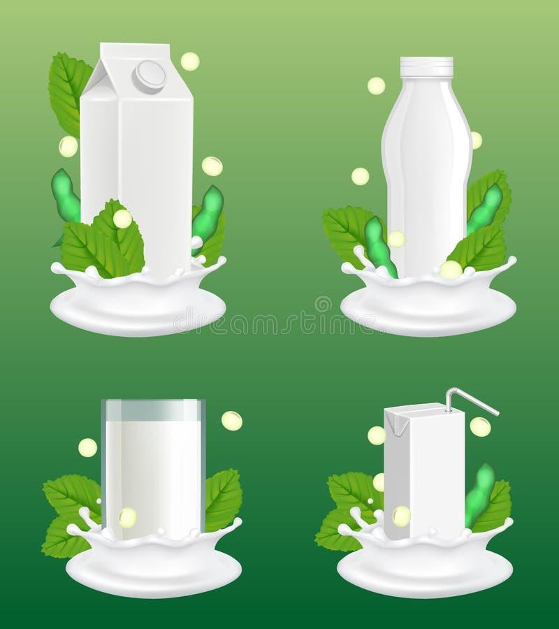 Soi mleka pakunku mockup wektorowy realistyczny set royalty ilustracja