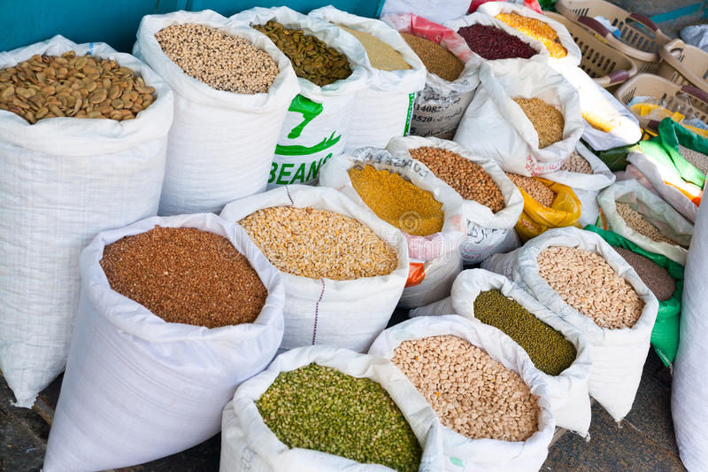 Soia Beans, Beans, Legumes, Spices in Whit Bags in Arabic Market royalty free stock photo
