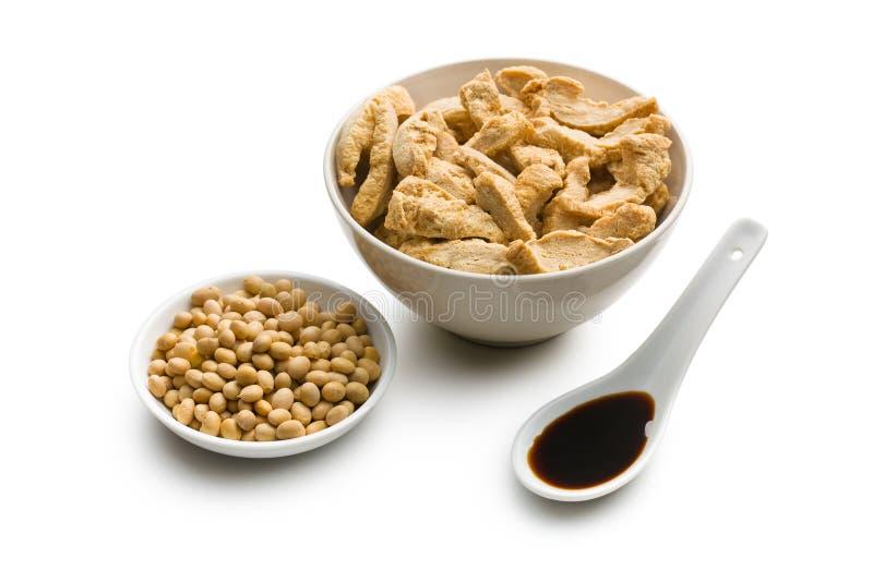 Soia, carne della soia e salsa di soia immagine stock