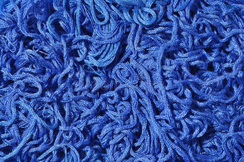 Soie bleue de broderie comme texture de fond photographie stock