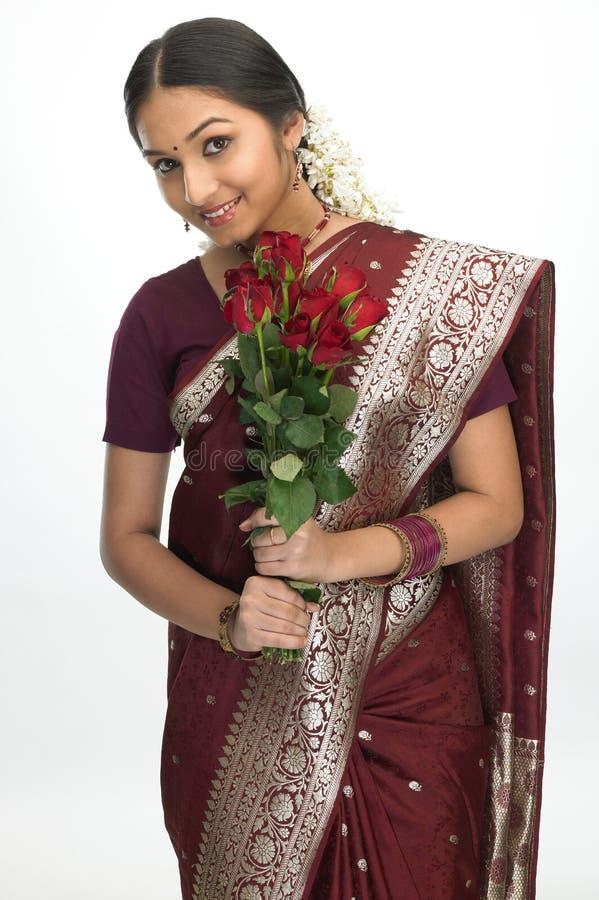 soie de sari de fille d'adolescent images stock