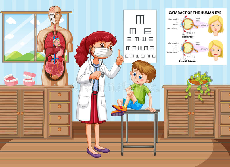 Soignez donner le traitement au petit garçon dans la clinique illustration de vecteur