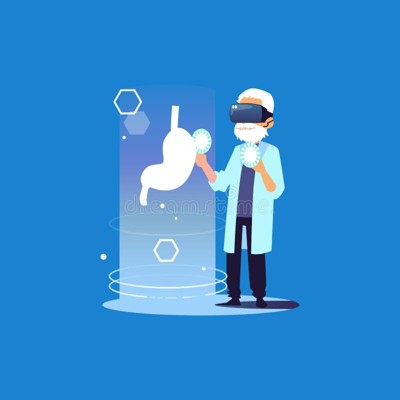 Soignez en verres d'une réalité virtuelle regarde une illustration plate de vecteur d'estomac illustration libre de droits
