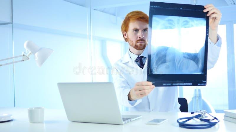 Soignez Examing X-ray du patient, des poumons et de la cage thoracique images stock