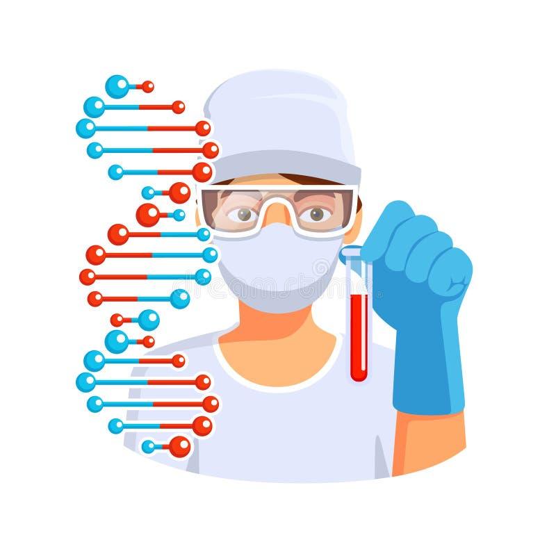 Soignez juger le tube à essai avec de l'ADN de sang disponible illustration stock
