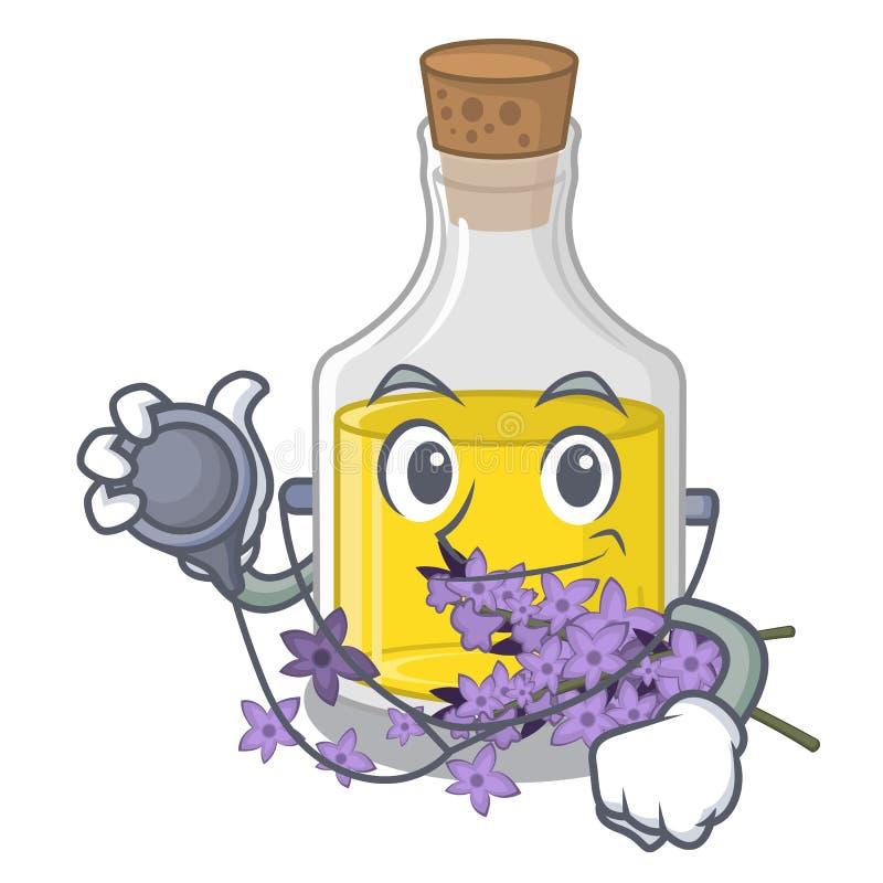 Soignez l'essence de lavande dans une bouteille de bande dessinée illustration de vecteur