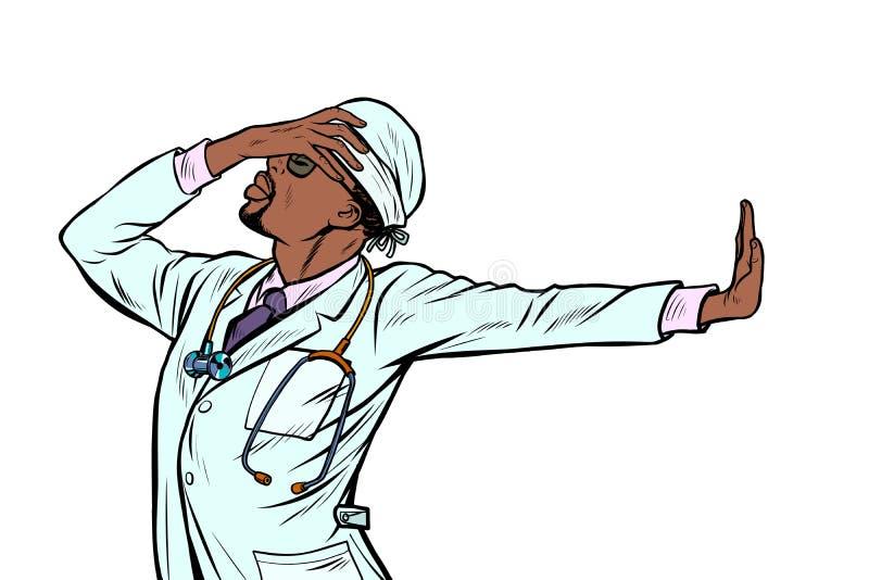 Soignez la médecine d'homme geste de démenti de honte non illustration de vecteur
