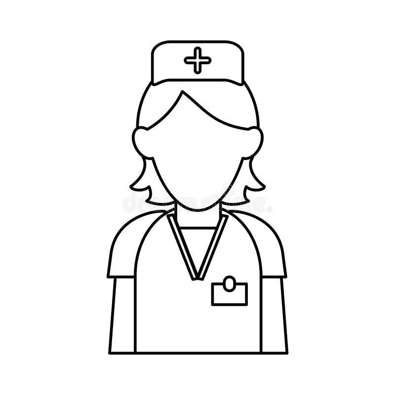 Soignez le contour uniforme de croix de chapeau de clinique de soin de personnel illustration de vecteur
