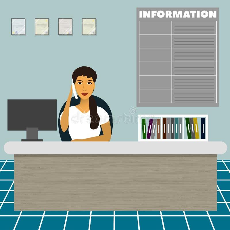 Soignez le secrétaire consultatif d'employé de bureau d'administrateur s'asseyant à la table à la réception et parlez au téléphon illustration libre de droits