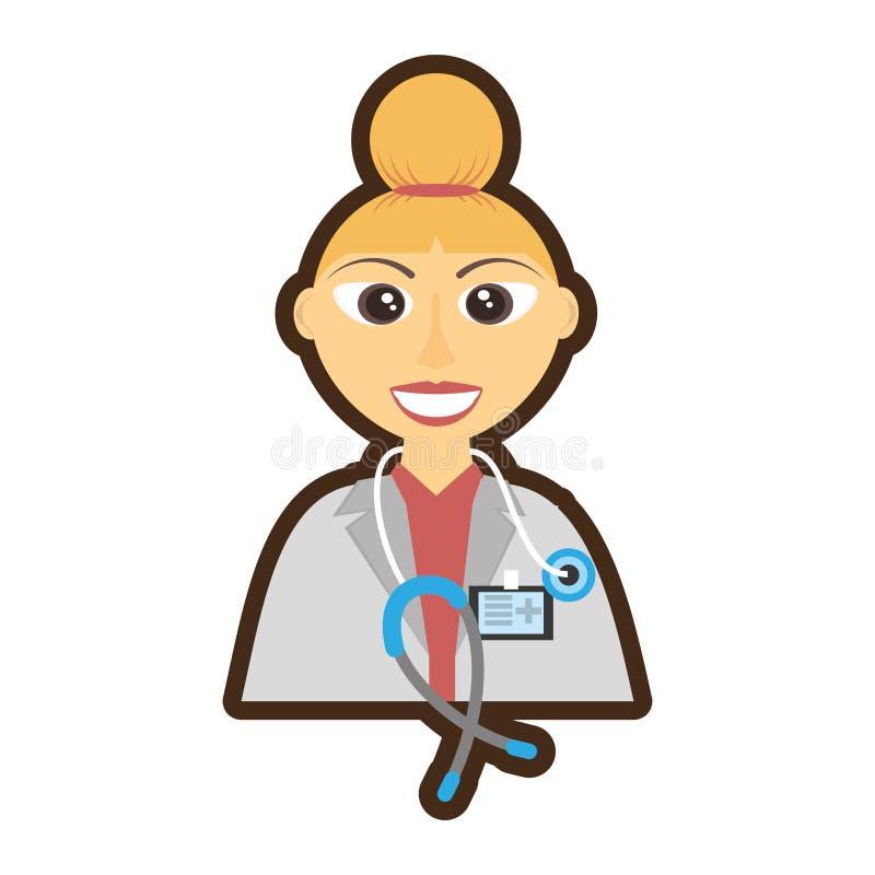 soignez le stéthoscope femelle de cheveux de petit pain et la carte d'identification illustration de vecteur