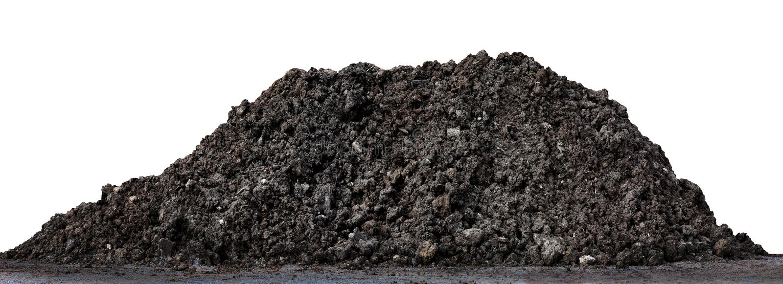 Soil clay mountain pile, soil heap land for construction home or road way building, wet soil dirt mound brown black large pile royalty free stock image