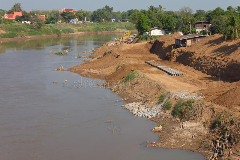 Soil erosion coastal river. stock photography