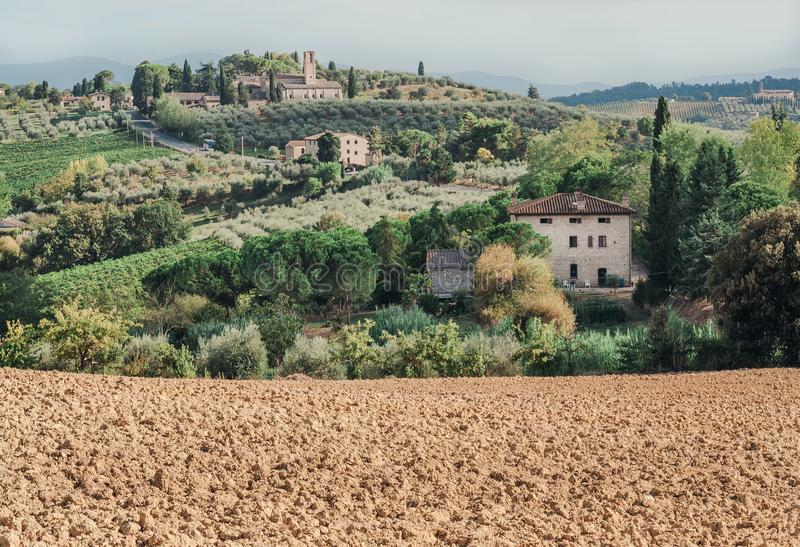 Soil for grapes of local farm in landscape of Tuscany with garden trees, mansions, green hills. Italian countryside. At sunrise in province of Italy stock image