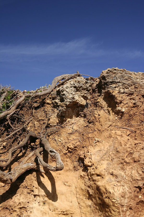 Soil ground. Edge of a dry soil ground against the sky royalty free stock photo