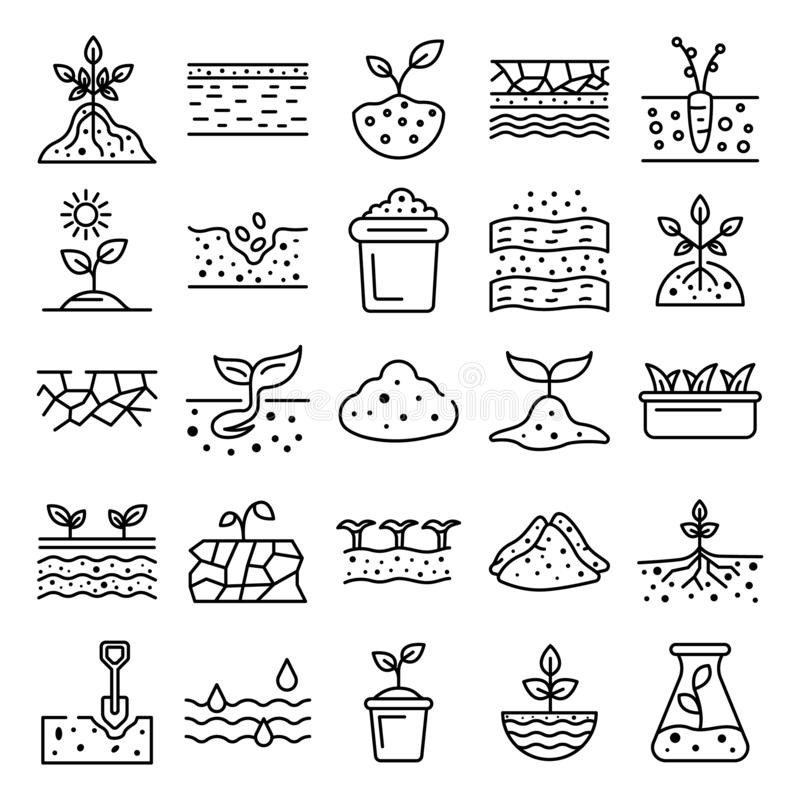 Soil ground icons set, outline style. Soil ground icons set. Outline set of soil ground vector icons for web design isolated on white background royalty free illustration