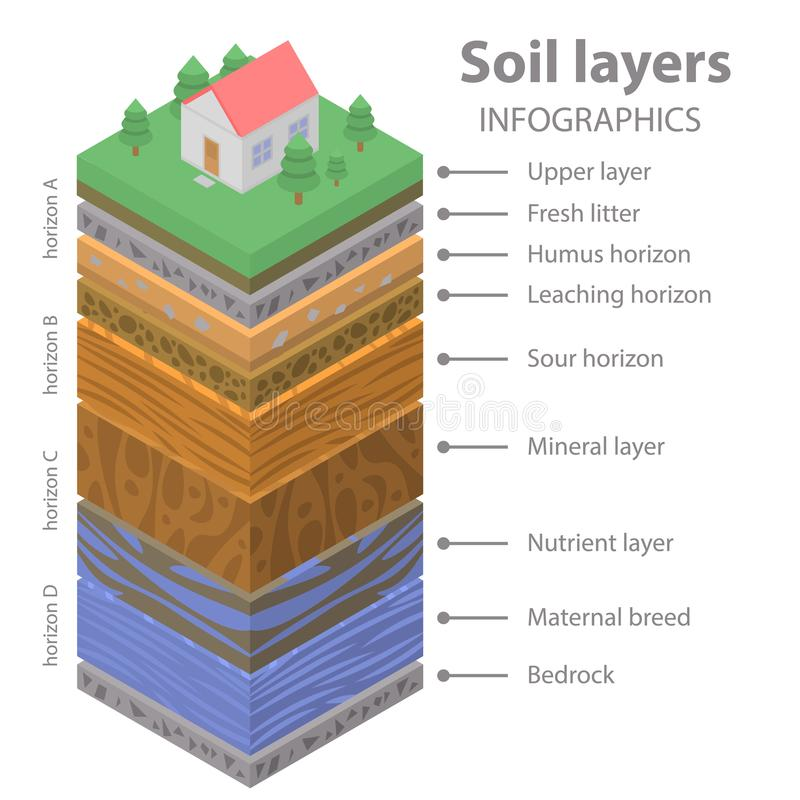 Soil ground infographic, isometric style. Soil ground infographic. Isometric of soil ground vector infographic for web design vector illustration