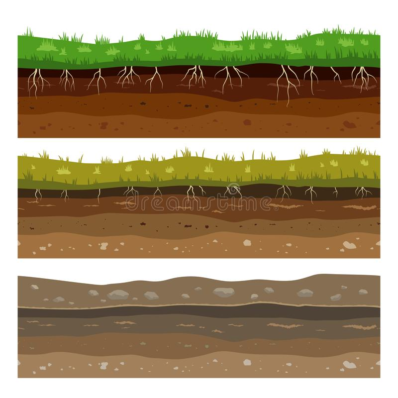 Soil ground layers. Seamless campo ground dirt clay surface texture with stones and grass. Vector royalty free illustration
