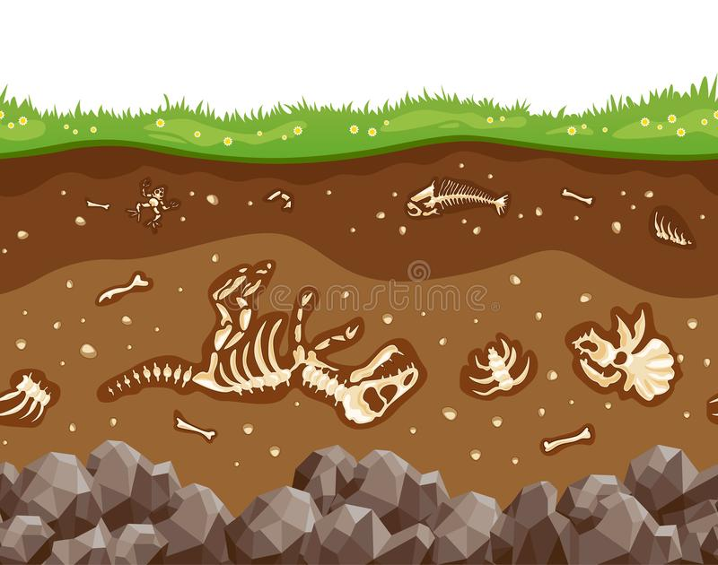Soil layers with bones vector illustration