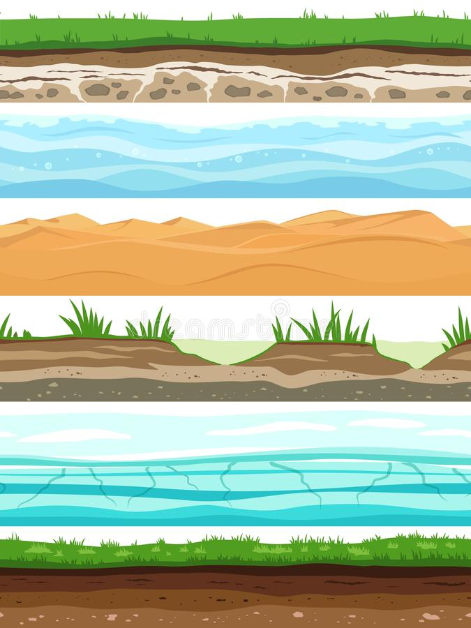 Soil layers. Campo ground surface land grass dried desert sand water. Ground levels seamless set. Soil layers. Campo ground surface land grass dried desert sand royalty free illustration