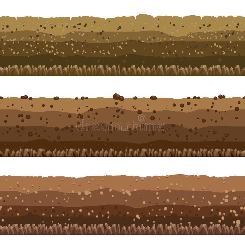 Soil layers set stock illustration