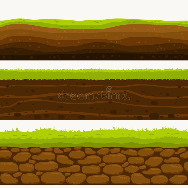 Soil Seamless layers ground layer. Stones and grass on dirts. Vector stock illustration