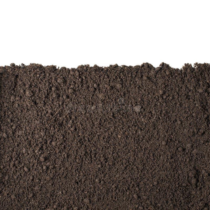 Soil section texture isolated on white. Soil or dirt section isolated on white background royalty free stock photos