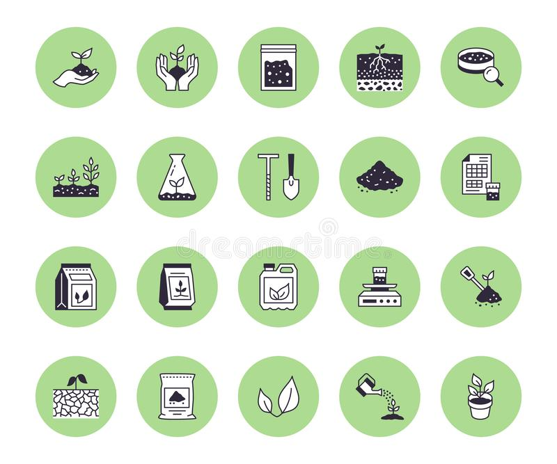 Soil testing flat line icons set. Agriculture, planting vector illustrations, hands holding ground with spring, plant vector illustration