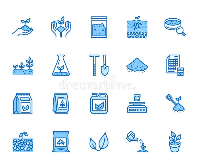 Soil testing flat line icons set. Agriculture, planting vector illustrations, hands holding ground with spring, plant. Fertilizer. Thin signs for agrology stock illustration