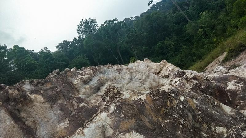 Soil texture in Batam Island. Batam, Riau Islands / Indonesia - July 03/2019.Commonly, the soil texture in Batam is brownish because it contains bauxite and lime stock photos