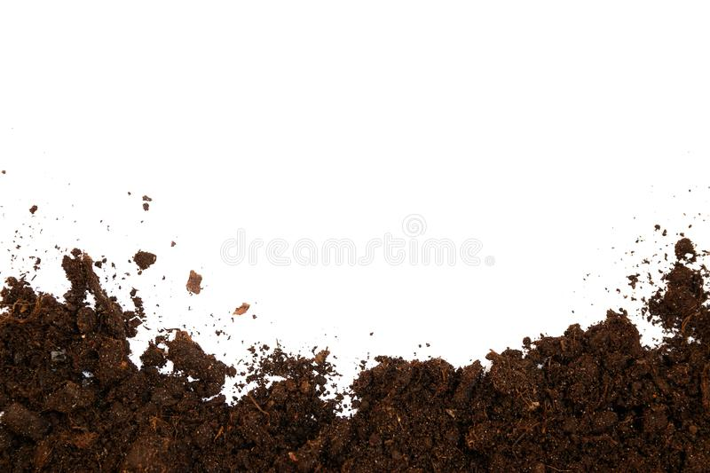 Soil texture isolated on white background seen from above, top v stock photography