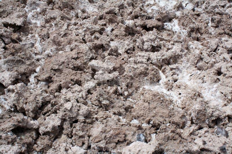 Soil texture of salty desert, Atacama, Chile. stock photo
