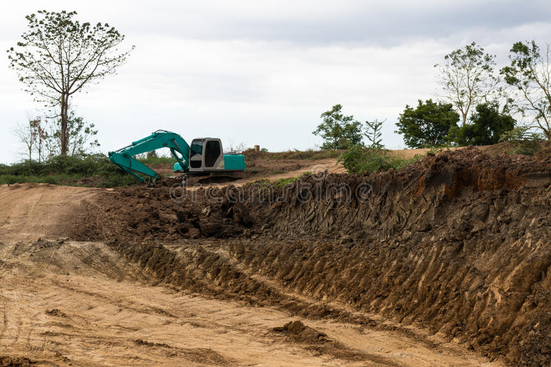 Soil with traces backhoe. royalty free stock photo