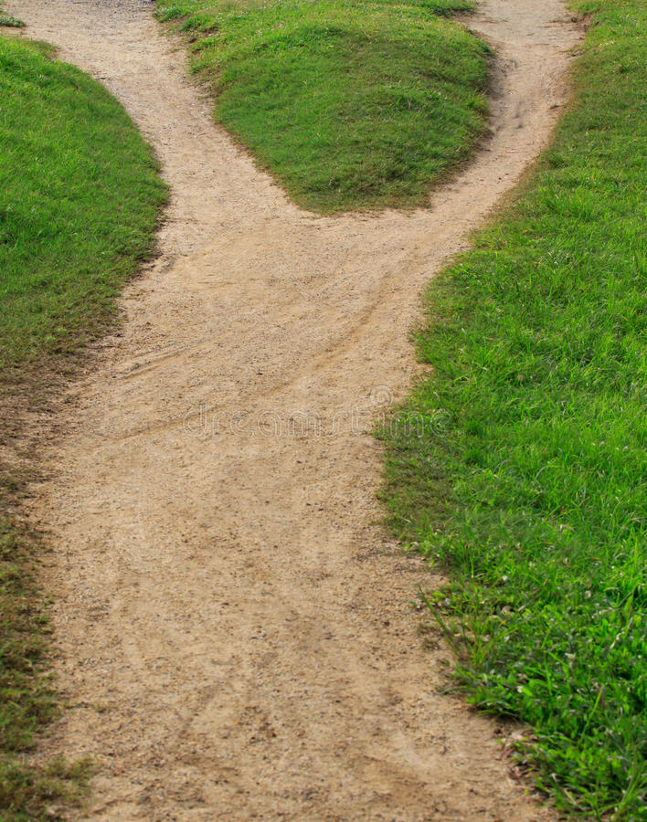 Download Soil Trail And Green Grass Separated Two Way Stock Photo - Image: 27135790