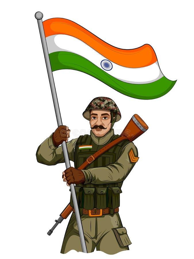 Soilder indiano do exército que guarda o falg da Índia com orgulho ilustração royalty free