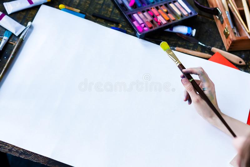 Young student artist at art workplace stock photography