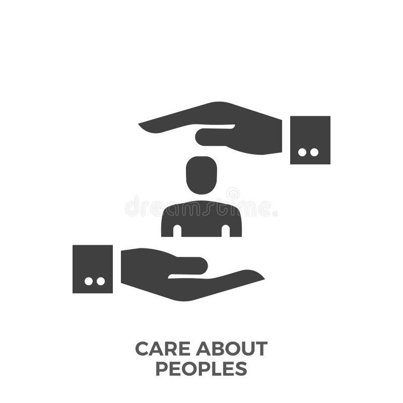 Soin au sujet d'icône de vecteur de Glyph de peuples illustration libre de droits
