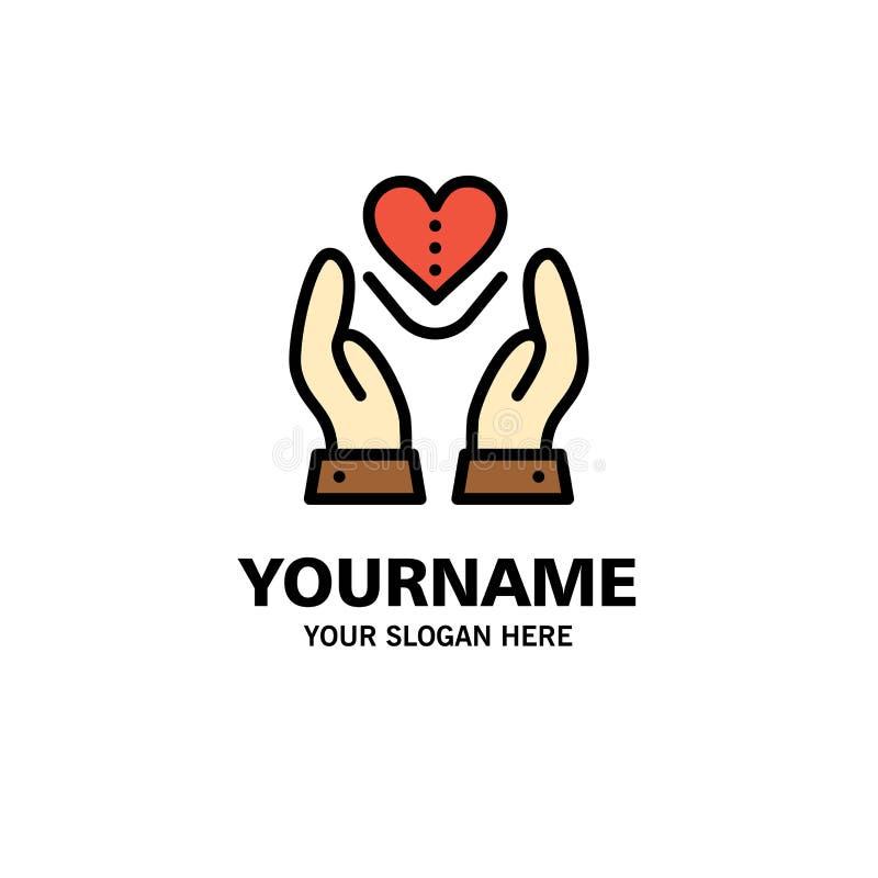 Soin, compassion, sentiments, coeur, affaires Logo Template d'amour couleur plate illustration libre de droits