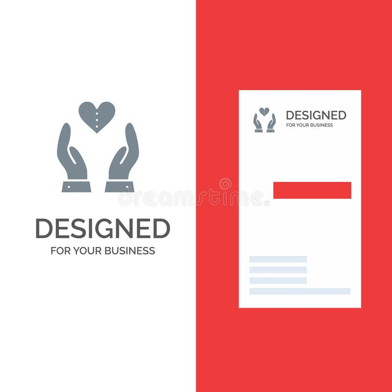 Soin, compassion, sentiments, coeur, amour Grey Logo Design et calibre de carte de visite professionnelle de visite illustration de vecteur