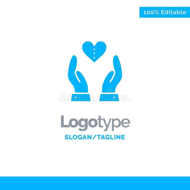 Soin, compassion, sentiments, coeur, amour Logo Template solide bleu Endroit pour le Tagline illustration stock