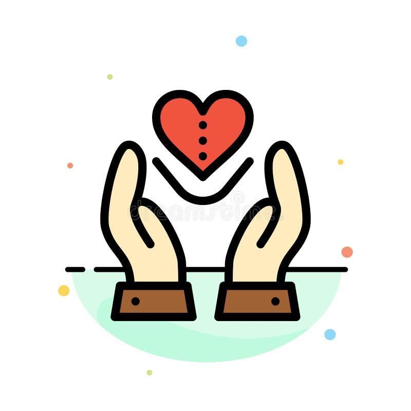 Soin, compassion, sentiments, coeur, calibre plat d'icône de couleur d'abrégé sur amour illustration de vecteur