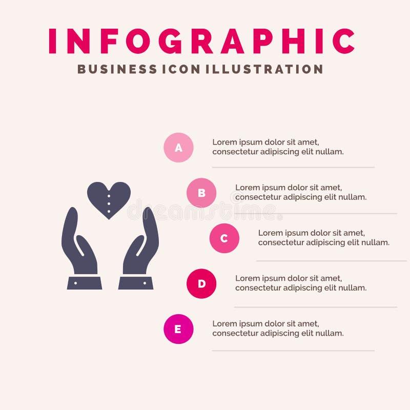 Soin, compassion, sentiments, coeur, fond solide de présentation d'étapes d'Infographics 5 d'icône d'amour illustration stock