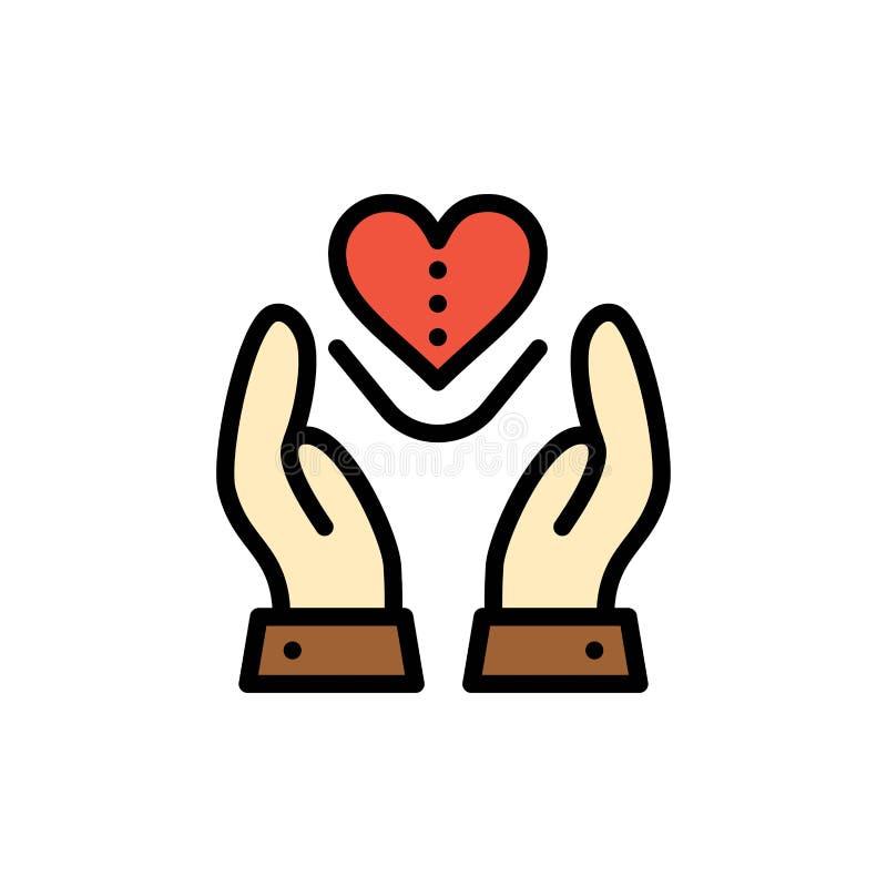 Soin, compassion, sentiments, coeur, icône plate de couleur d'amour Calibre de bannière d'icône de vecteur illustration libre de droits