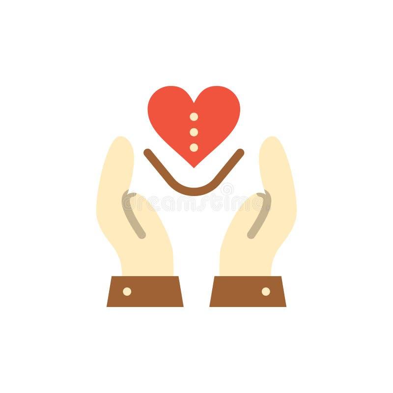Soin, compassion, sentiments, coeur, icône plate de couleur d'amour Calibre de bannière d'icône de vecteur illustration de vecteur